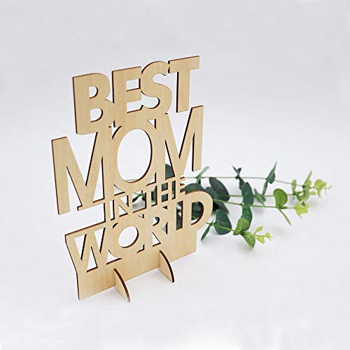 ZaRRian Corp Best MOM in The World - Laser Engraved Wooden Stand-Plaque (Natural Wood Color) …