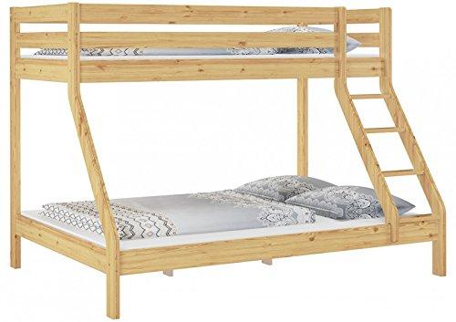 Erst-Holz Letto a Castello 3 piazze con materassi 140x200-90x200 per Adulti in Pino 60.19-09-14M