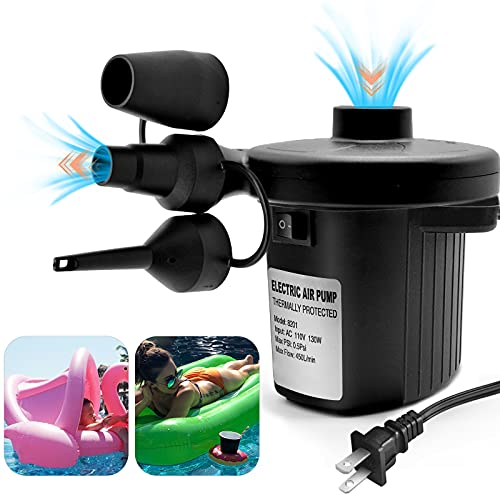 HEETHYCOOL Electric Air Pump for Inflatables Pool Raft with 3 Nozzles Quick Inflator Deflator for Air Bed Mattress, Paddling Pool, Swimming Ring Inflatables AC 110V/130W