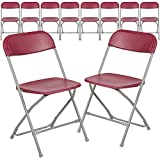 Flash Furniture Hercules Series Plastic Folding Chair - Red - 10 Pack 650LB Weight Capacity Comfortable Event Chair-Lightweight Folding Chair