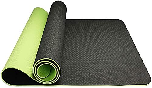 Hatonky Esterilla Yoga Antideslizante Alfombrilla de Yoga Esterilla Pilates Esterilla Deporte Material TPE Ecologico 183cm x 61cm x 0.6 (Verde Oscuro)