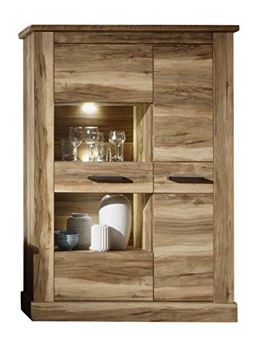 trendteam Wohnzimmer Highboard Vitrine Montreal, 106 x 149 x 42 cm in Nussbaum Satin Dekor mit viel Stauraum und drei Einlegeböden