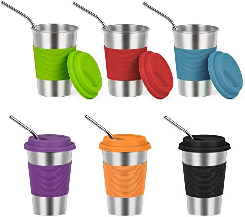 HAITRAL 6 Pack Stainless Steel Kids Cups with Straws and Lids 16oz Drinking Tumblers Cups for product image