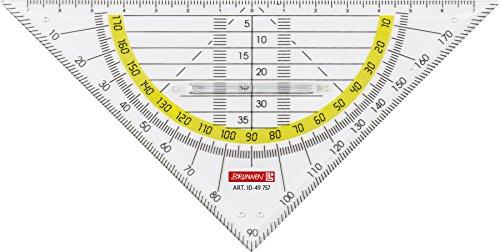 Brunnen 1049757 Geometrie-Dreieck / Geodreieck (für Schule und Büro 16 cm, mit Griff, glasklar)