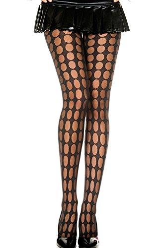 Zwarte Visnet Panty's met een Ladybird Gat Patroon
