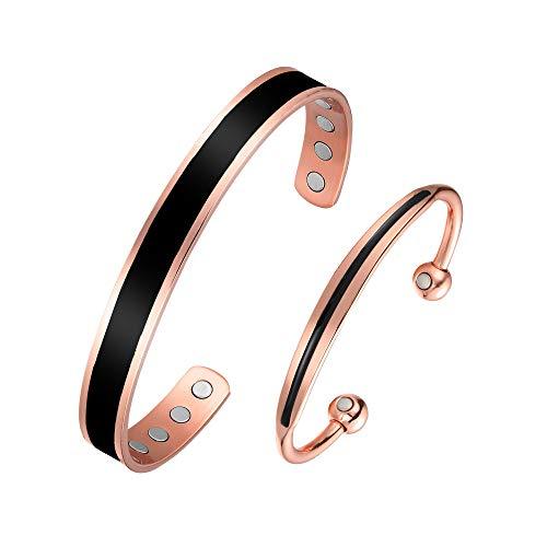 Magnetic Copper Bracelet for Women Men Arthritis Pain Relief Adjustable to Fit Most Wrist-2PCK