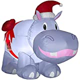 "Christmas Inflatable 2'9"" Purple Hippo W/HAT and Bow Outdoor Holiday Yard Decoration"