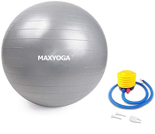 MAXDIRECT MAXYOGA® Pelota de Ejercicio Anti-Burst para Yoga, Equilibrio, Fitness, Entrenamiento, Balon Ejercicio Anti-explosión de 65cm, incluidos Bomba de Aire.