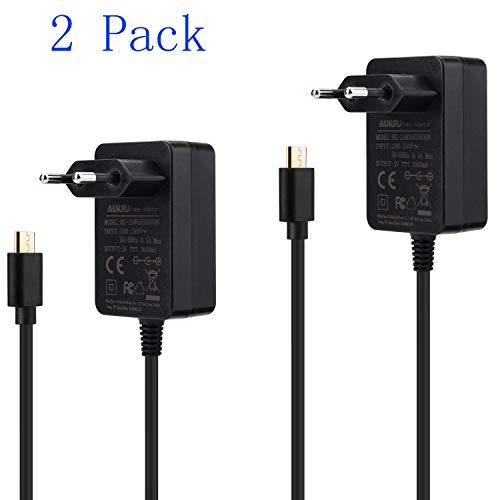 Aukru 2x Caricabatterie Micro USB 5V 3A Alimentatore per Raspberry Pi 3 Modello B+ Plus/Pi 3, Pi 2 Modello B+ Plus, Banana Pi,Nero