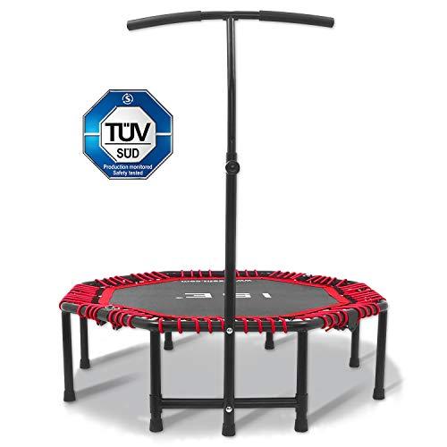ISE Trampolín plegable para fitness / gimnasia Ø 122 cm con mango ajustable 3 niveles 113-135 cm, sistema de cuerda elástica, perfecto para interior / jardín / adulto / niño, aprobado por TÜV, máx.120 kg (rojo)