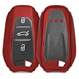 kwmobile Car Key Cover - Soft TPU Silicone Full Body Protective Key Fob Case Compatible with Peugeot Citroen 3 Button Car Key Smart Key (only Keyless Go) - Red High Gloss
