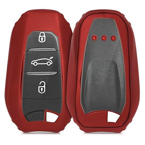 kwmobile Autoschlüssel Hülle kompatibel mit Peugeot Citroen 3-Tasten Smartkey Autoschlüssel (nur Keyless Go) - TPU Fullbody Schlüsselhülle Cover Schutzhülle Hochglanz Rot