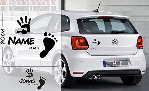Fuß und Handabdruck Baby personalisiert mit Name und Datum | Baby - Name On Board | Wunschtext mit Datum | Auto Aufkleber | Autoaufkleber | Baby On Board