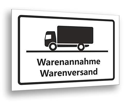 Warenannahme Warenversand Schild 30 x 20 cm, stabiles 3 mm Hart PVC Schild für den langfristigen Außeneinsatz, UV beständig