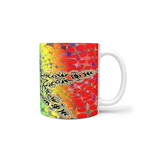 kikomia Bunt Schwarz StarBecher Tasse Keramik Kaffee Home Office personalisierte Geschenke Urlaub Tee Wasser heiß Magie lustige Kunst Frauen Mama Oma Farbe Familie White 330ml