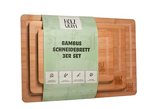 Holzwurm Bambus Schneidebrett / 3er Set / Antibakterielles Holzbrett / Mit Saftrille / langlebig und widerstandsfähig