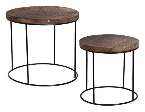 Meinposten. 2 kleine Beistelltische Couchtisch Beistelltisch Nachttisch Holz Metall 2er Set Blumenhocker Pflanztreppe Hocker