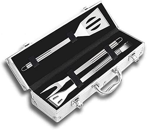 AMBM 26 unids acero inoxidable barbacoa herramientas conjunto barbacoa parrilla utensilios accesorios camping al aire libre cocina herramientas kit con caja de aluminio