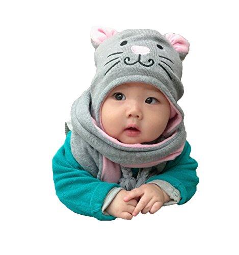 Sombrero y Bufanda del Bebé Niños Niñas, Estwell Invierno Caliente Lindo Gato Gorra de Punto para Bebe Chicos Chicas
