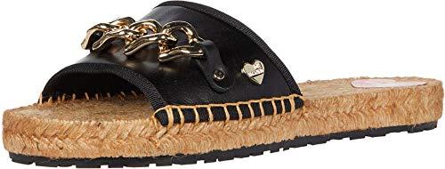 Love Moschino Chain Espadrille Open Toe Femme Sandales Noir 37 EU