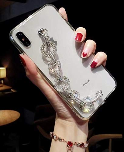 LIUYAWEI Glitte 3D Diamond Bracelet Funda Transparente Suave para iPhone 12Mini 11Pro MAX XS XR 8plus para Samsung S9 10Lite Note8 9 Funda Trasera, A, para iPhone 6 6S