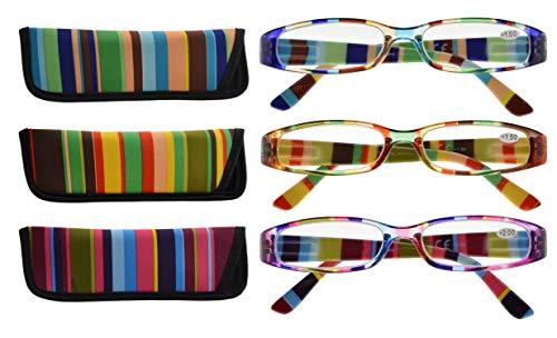 CessBlu Reading Glasses - 3 Pairs Ladies Fashion Reader Eyeglasses for...