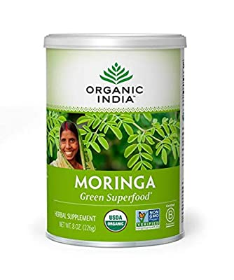 ORGANIC INDIA Moringa Powder Complex Superfood for Essential Nutrition - Abundant in Vitamins, Minerals and Amino Acids - Pure, Organic Moringa Oleifera Leaf Powder