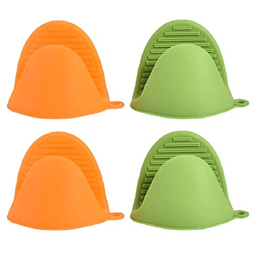 ANMAIKER Mini Oven Mitts,Silicone Oven Mitts Heat Resistant for Kitchen Cooking and Baking (2 Green + 2 Orange)