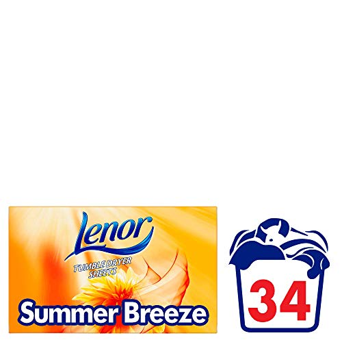 Lenor Summer Breeze Tumble Dryer Sheets, Paquete de 34