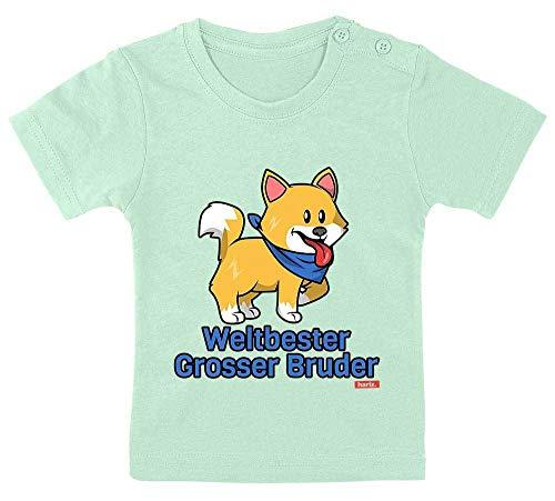 """Hariz - Camiseta para bebé, diseño con texto """"Weltbeste Grosser Hermano más grande del mundo"""", incluye tarjeta de regalo, pasta de dientes verde, 15-24 meses/80-92 cm"""
