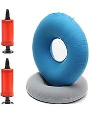 2 Piezas Cojín de Anillo de Rosquilla Inflable, Cojín Redondo Coxis Inflable con Inflator Bombas, para Asientos de Automóvil, Sillas de Ruedas, Tratamiento de Hemorroides (Gris, Azul)