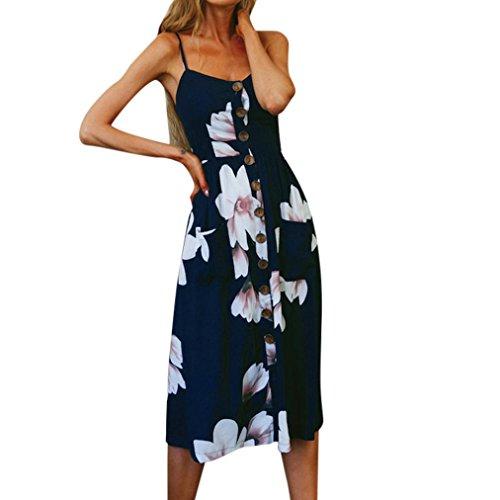 Vestidos Mujer Casual,Mujeres Vacaciones Rayas Damas Verano Playa Botones Vestido de Fiesta LMMVP (M, H)