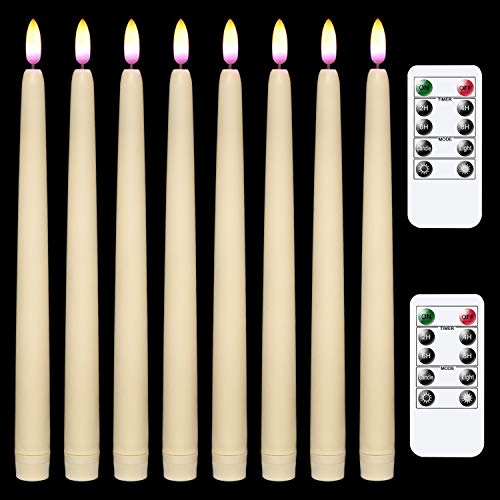Wondise Flameless Window Taper Candles Flickering with Remote Timer, 11 Inch Battery Operated 3D Black Wick Wax Covered LED Smooth Candle Real Flame Effect for Christmas Home Decoration(8 Pack, Ivory)