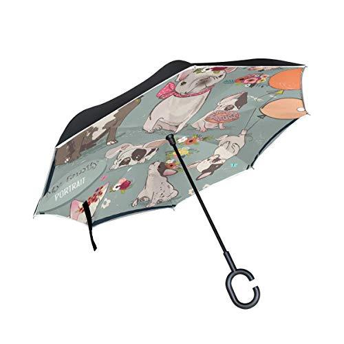 Dubbellaagse paraplu, omgekeerd, draagbaar, opvouwbaar, schattige Franse bulldog, kinderparaplu, dubbele paraplu, winddicht, UV-bescherming voor regen met handgreep in D-vorm.