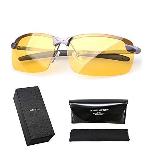 Oranlife HD Night Vision Glasses for Driving Anti Glare Polarized Glasses New UV400 Eyewear, Safety Glasses, TAC Polarized, Clarity Lenses with Glasses Case & Glasses Cloth
