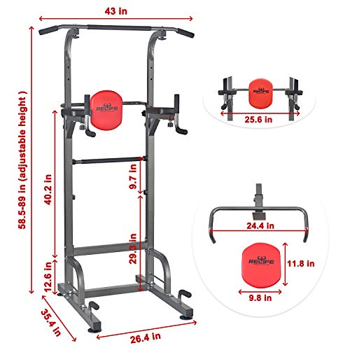 Product Image 3: RELIFE REBUILD YOUR LIFE Power Tower Workout Dip Station for Home Gym Strength Training Fitness Equipment Newer Version