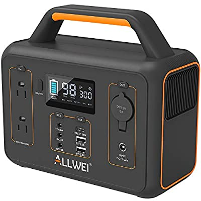 ALLWEI Portable Power Station, 300W/Peak 600W Solar Generator 280Wh/78000mAh CPAP Backup Lithium Battery Pack with LED light,Pure Sine Wave AC Outlet, QC3.0 USB,for Outdoors Camping Travel Emergency