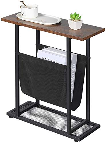 Neekor Vintage Narrow End Table with Fabric Magazine Holder Sling,21.7 Inch Nightstand Modern Industrial Side Table Sofa End Table for Small Spaces Wood & Metal H Shape with Book Storage Holder