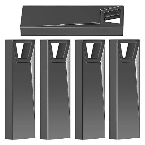 Memoria USB, 5 x 32 GB Pen Thumb Flash Drives Memoria Jump Drive Memoria Externa con diseño de Llavero(Negro)