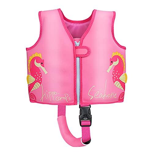 Wenlia Chaleco de buceo para niños lindo caballito de mar chaleco fuerte flotabilidad mejor chaleco natación mar baño natación juego agua (rosa)