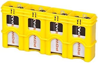 Storacell SL9VCY by Powerpax SlimLine 9V Battery Caddy, Yellow, Holds 4 Batteries