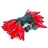FMH - Red Chili Pepper String Lights, 35 bulbs, 14.5 Feet Long, 22 Gauge Green Wire, 120 V,...