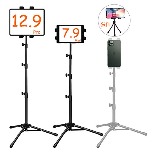 Ipad Tripod Mount, Ipad stand tripod,Phone Floor Stand, Height Adjustable 20 to 60 Inch Tablet Stand for Ipad, Ipad Pro 12.9, 11 and Others Within 5.5-12.9 Inch, Carrying Case and Mini Stand Includeed