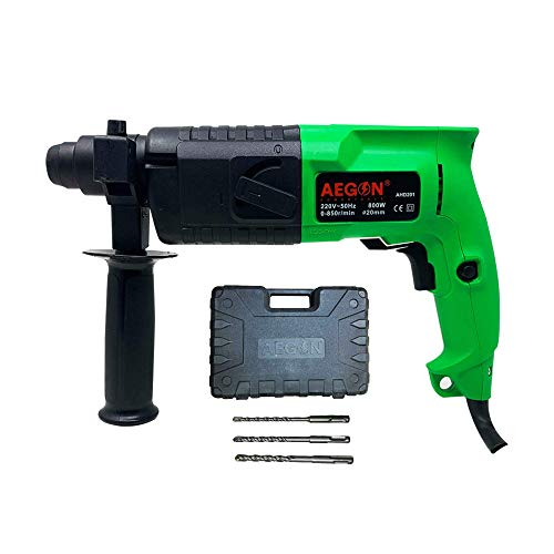 Aegon Ahd201 Heavy Duty SDS Plus Type Shank Variable Speed Reversible 2 Functions Rotary Hammer Drill with 3 Bits For Hammering & Drilling on Concrete, Masonry & Wood (800 W, 20 mm, 850 Rpm, Green)