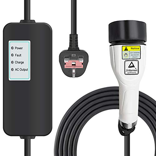 MAX GREEN Type 2 EV Charger Cable, 1 Phrase 8A UK 3 pin Plug Charging Box Electric Vehicle Charging Station Car EVSE 1.92kw, 25ft, IEC62196 Standard