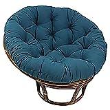 DLPY Cotton Solid Papasan Patio Seat Cushioning Round 52' X 6' X 52' Rattan Wicker Chair Pad Home Floor Cushion Thick Nest Mats-navy Blue Diameter130cm(51inch)