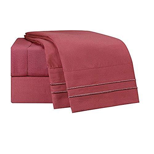 Clara Clark Supreme 1500 Collection 5pc Bed Sheet Set - Split King Size, Burgundy Red
