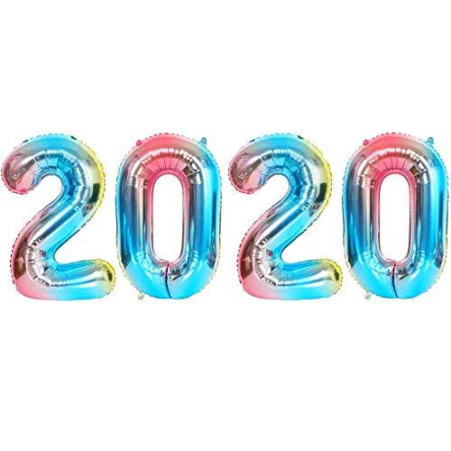 DIWULI, XXL Zahlen-Ballons, Zahl 2020, Neujahr Silvester, blau bunt Schillernde Regenbogen Luftballons, Zahlenluftballons, Folien-Luftballons Jahe, Folien-Ballons Silvester-Party, Hochzeit Dekoration