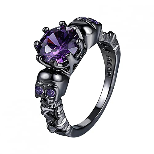RYGHEWE Retro Vintage Ring,Black Gold Skull Shaped with Purple Diamond Crystal Rings,Women Men Fashion Carving Bridal Ring for Girlfriend,Gift for Birthday,Wedding,Anniversary,Halloween Accessories