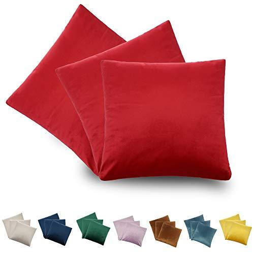 CALIYO Funda de cojín de terciopelo Uni funda de cojín 2 o 3 fundas de almohada para cojín decorativo cojín de sofá 45 x 45 cm muchos colores, rojo-2, 50 x 50 cm